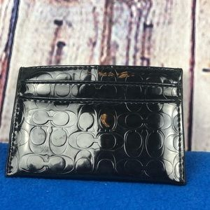 Coach signature print wallet card holder